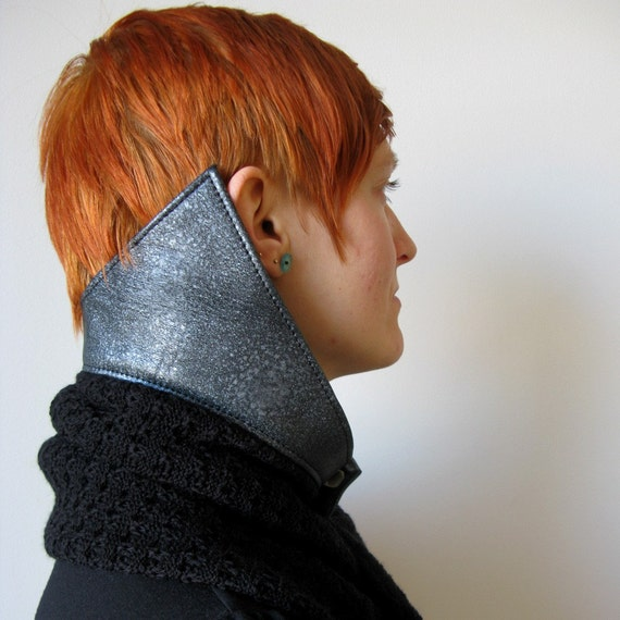 Black and Silver Leather Collar Scarf/Shawl , made from merino wool and recycled leather, sample