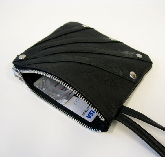 Rays Leather Wristlet with Worn Out Leather Details, Eco Design, made from recycled leather