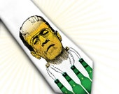 Mens Tie Franken-beer or Frankenstein's beer adventure - necktie, halloween necktie, party necktie,autumn necktie, spooky necktie