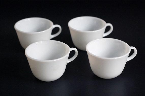 S A L E  :  Set of 4 Vintage Milk Glass Pyrex Tea Cups