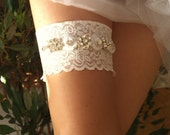 Lace Wedding Garter Set with Wonderful  Rhinestones