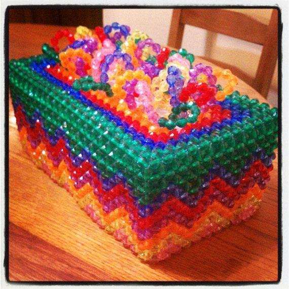 rainbow handmade beaded tissue box cover by blessingsinbetween