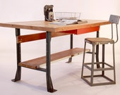 Upcycled Industrial Style Work Table/Desk/Kitchen Island