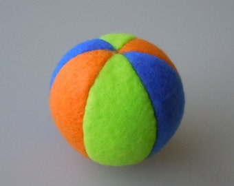 Catnip Fleece Ball Cat Toy Royal Blue Lime Green and Orange