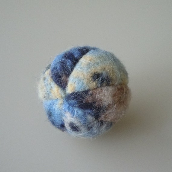 Felted Lambs Wool Catnip Ball in Blue Tones