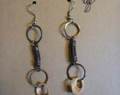 Leather and Shell Earring