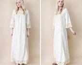 1960s Daisy Goddess Gauze Maxi Dress S