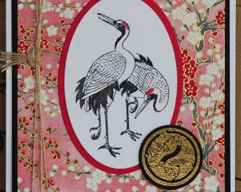 Oriental Embossed Cranes on Handmade Japanese Yuzen Paper All Occasion Blank Card