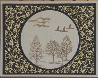 Oriental Moonlit Scene on Handmade Japanese Yuzen Paper All Occasion Blank Card