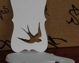 "100 Swallow  Die Cut Vintage White Blank Tags or Labels 2"" x 3-1/4"""