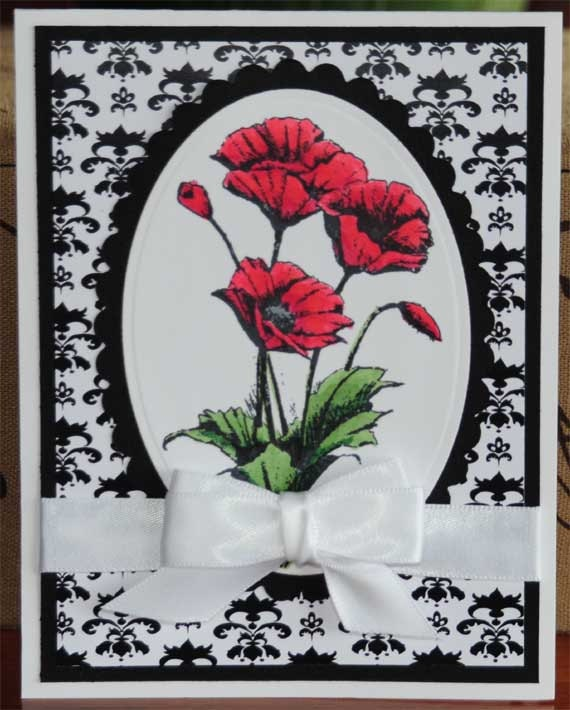 Poppy All Occasion Hand Colored Card