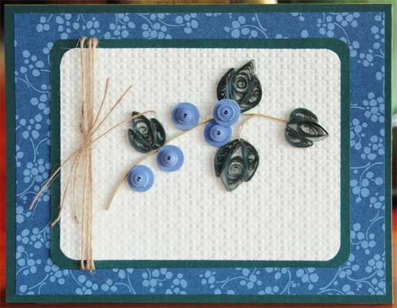 Quilled Blueberries All Ocassion Blank Card