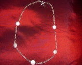 Coin Shaped Freshwater Pearl and Silver Necklace
