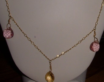 Pink and Gold Swarovski Crystals in Rare and Beautiful Gold Necklace