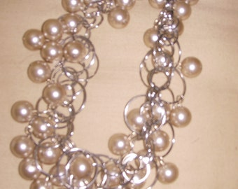Gold Glass Pearl Cluster Choker.  My Signature Piece