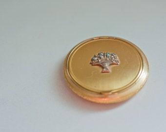 Vintage Evans gold-toned powder & rouge compact mirror