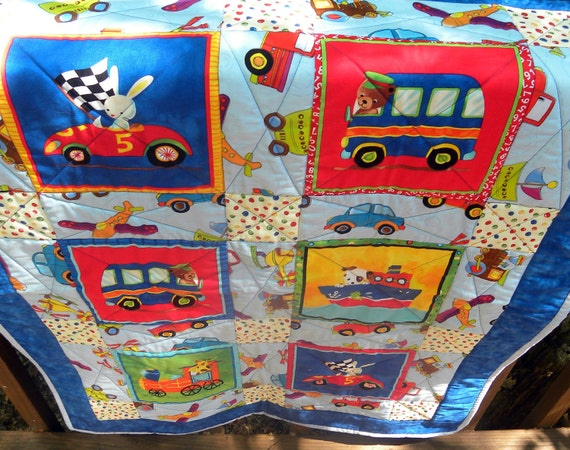 Blue Bunny in a Race Car Baby Quilt