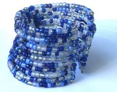 Blue and White Seed Bead Cuff Bracelet