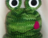 Frog Hat for Baby, Knitted  Hat, Baby Knitted Hat, Frogs, Animal Hat, Baby Boy Hat