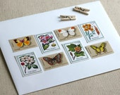 A Butterfly Garden - unused vintage postage stamps