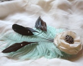 Cream Florette & Teal Feather Hair Accessory