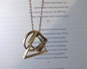 Convex - Geometric Necklace Brass Triangle, Circle & Square Pendants on Chain