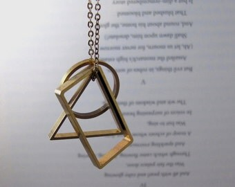 Vertex - Long Brass Geometric Necklace with Rectangle, Circle and Triangle Pendants (Collier Sautoir Géométrique en Laiton) by InfinEight