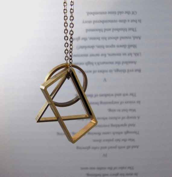 Vertex - Long Brass Geometric Necklace with Rectangle, Circle and Triangle Pendants by InfinEight