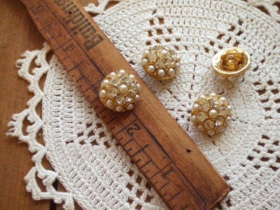 Vintage Metal Pearl Shank Buttons