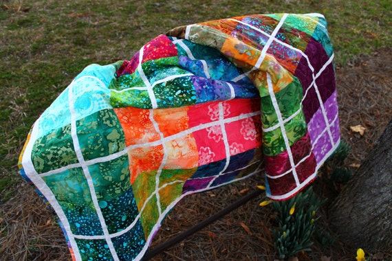 "Batik Beauty, Double Size Quilt 70""x79"", Handmade"