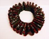 Red black charcoal brocade Elizabethan neck ruff, Mardi Gras, cosplay, theater costume collar harlequin