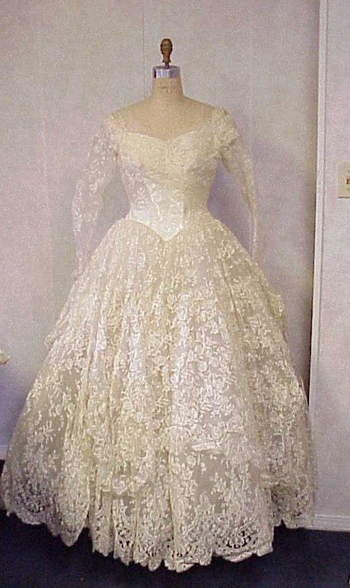 Vintage 1950s Wedding Dress Lace Satin Antebellum Style