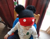 Mickey Mouse inspired knit child double pom pom hat