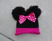 Minnie Mouse inspired knit hat with double pom pom and bow