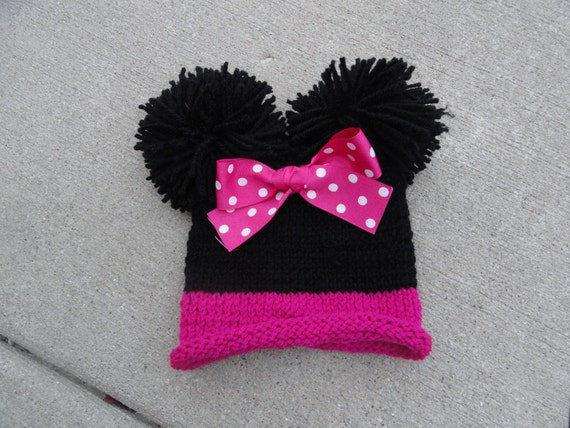 Knitted Minnie Mouse Hat Pattern : Minnie Mouse inspired knit hat double pom pom by KnitsyBitsyKnits