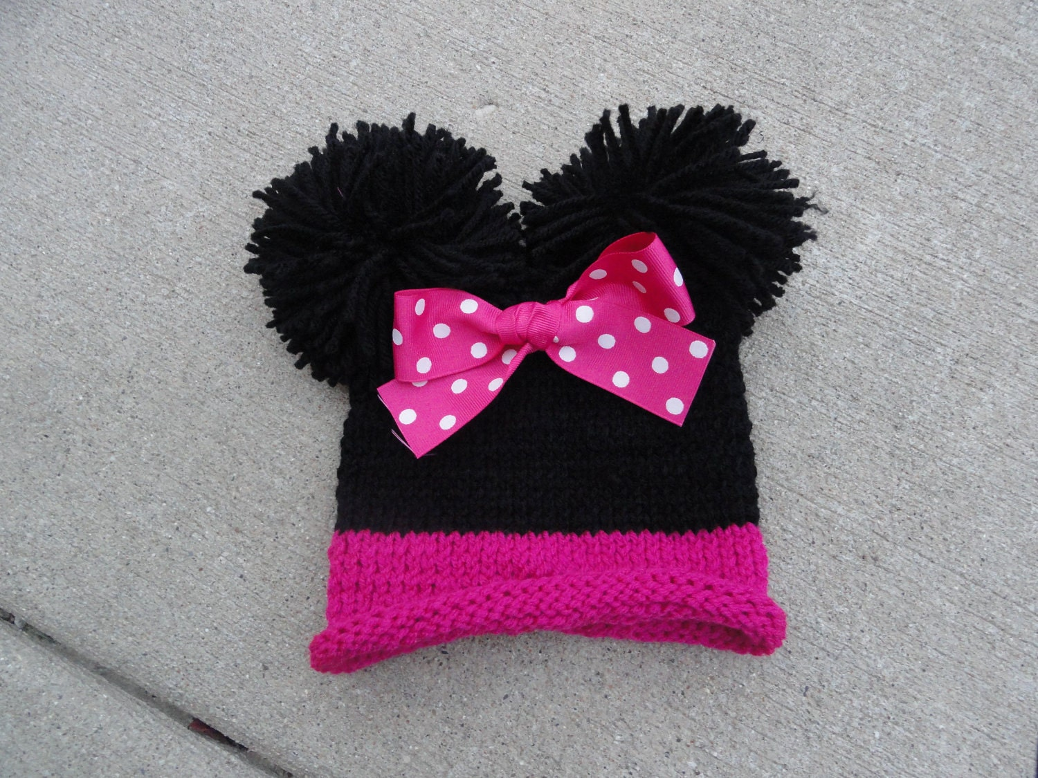 Minnie Mouse inspired knit hat with double pom by KnitsyBitsyKnits