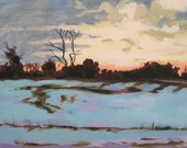 Winter Sunset -Original Painting By Anne Carrozza. 8x10 inches