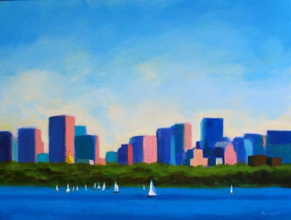 """Landscape Scenic """"Sailing On The Charles""""- Original Painting, By Anne Carrozza.9x12 inches"""