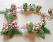 "Rose charm bracelet, pink and green. Glass crystal bead bracelet, polymer rose drops, Sterling Silver. ""Candy Rose"". Flower jewelry."