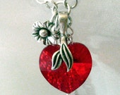 RESERVED. Red heart necklace, Swarovski crystal. Sterling Silver Y necklace with chain drops and red crystals. N101ss