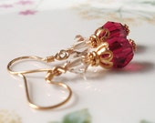 Swarovski crystal earrings, wine red and gold. Gold Vermeil crystal earrings. Gold jewelry, Christmas jewelry, crystal jewelry. E146gv - ArtfulTrinkets1