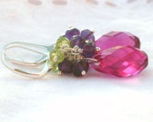 Gemstone crystal earrings. Fuchsia crystal drops, Amethyst Peridot cluster earrings. Sterling Silver. Gemstone crystal jewelry.