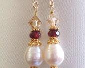 Pearl Garnet earrings, gold. White freshwater pearl earrings, Garnet, Swarovski crystal, Gold Vermeil. Pearl Garnet jewelry. E149v