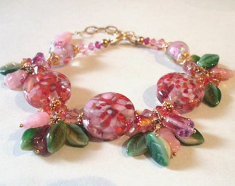 Garden bead bracelet, tropical colors, flower leaf bead dangle charms - Art glass, Austrian crystal, Gold Vermeil. Flower jewelry. CLEARANCE