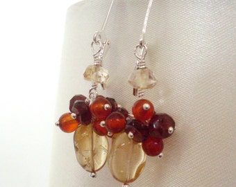 Citrine Garnet Carnelian cluster earrings, wire wrapped Sterling Silver earrings red yellow gemstone jewelry, Fall jewelry made in Australia