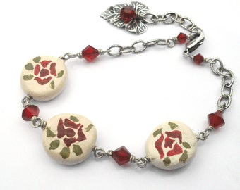 Clay bead bracelet, hand painted red roses. Chain, crystals, antique silver wire wrapped. Clay bead jewelry. B119v