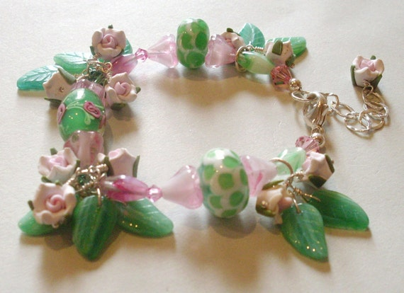 Rose charm bead bracelet, pink and green rose garden theme, chunky beads, Sterling Silver parts, roses and leaves, flower jewelry