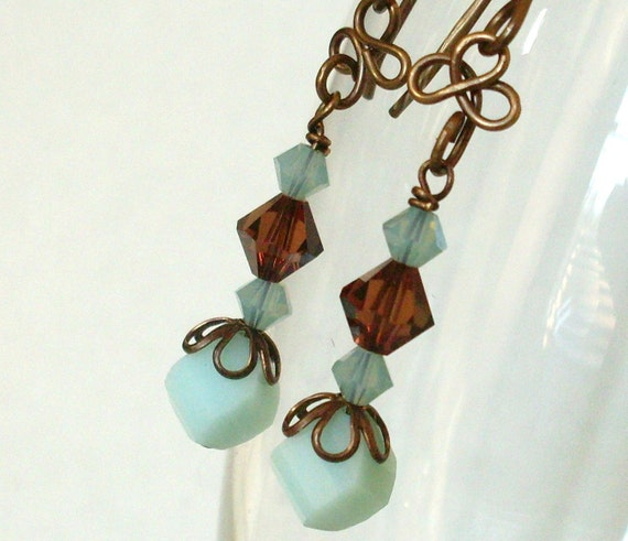 Chocolate/Aqua vintage brass Swarovski earrings. E194v