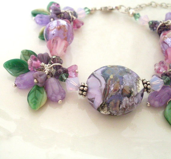 Flower charm bracelet, Mauve. Wire wrapped beaded bracelet. Art glass, Sterling Silver. 'Monet Fantasy'. DISCOUNTED. Flower jewelry.