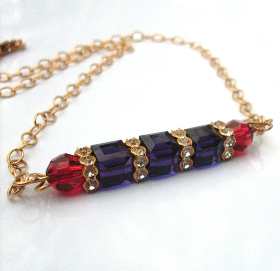 Crystal cube bar necklace - purple ruby beads Austrian crystal geometric necklace, rhinestone beads,14k Gold Fill chain, purple gold jewelry